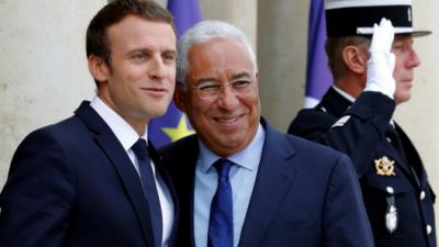 Emmanuel Macron et le premier Ministre portugais Antonio Costa lors du Sommet sur les interconnexions électriques entre la péninsule ibérique et le reste de l'Europe